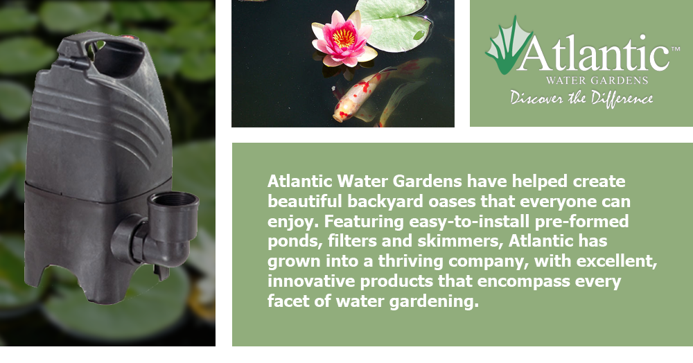 Atlantic Water Gardens have helped create beautiful backyard oases that everyone can enjoy. Featuring easy-to-install pre-formed ponds, filters and skimmers, Atlantic has grown into a thriving company, with excellent, innovative products that encompass every facet of water gardening.