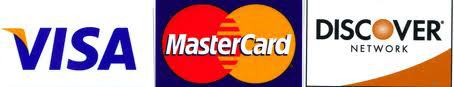 Credit Cards Accepted: Visa, Mastercard, and Discover