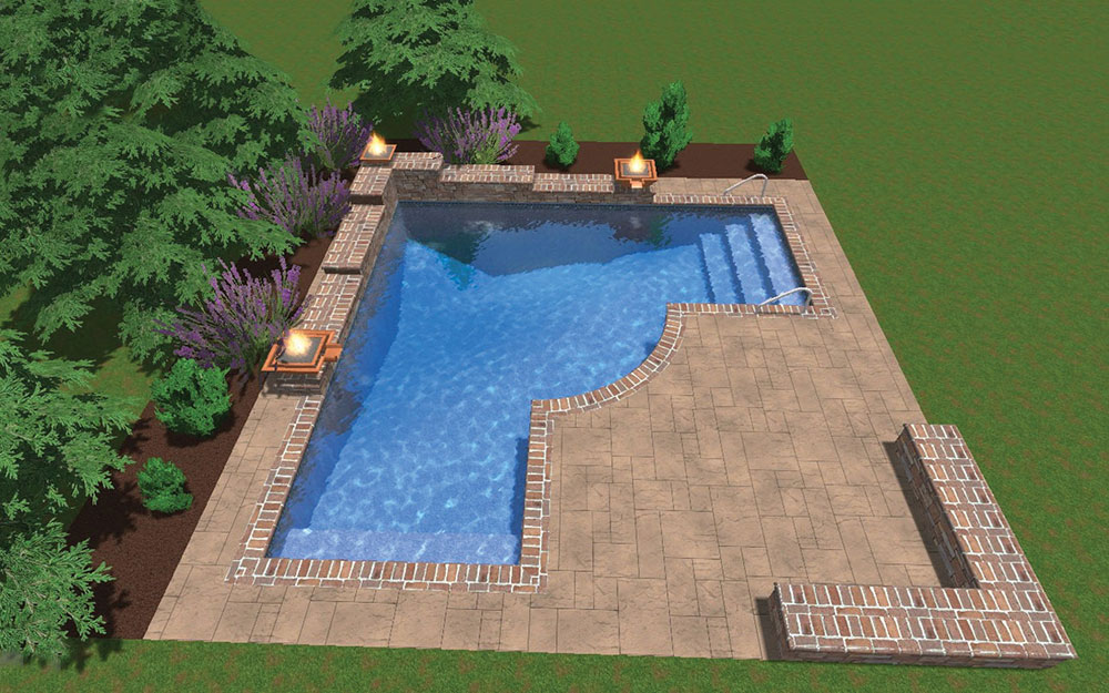 Inground Pool Shapes: Custom True L