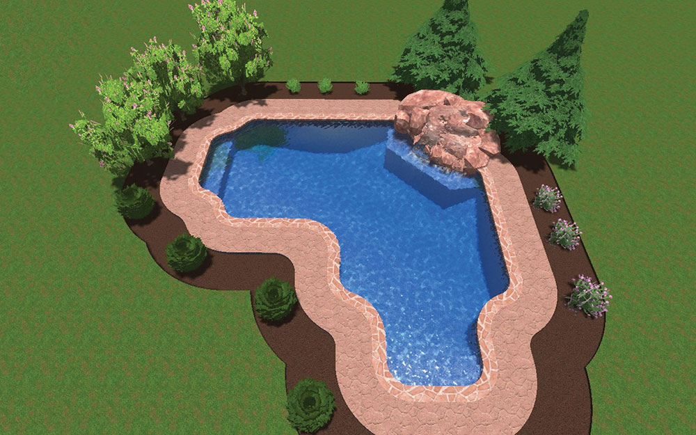Inground Pool Shapes: Custom Radius True L