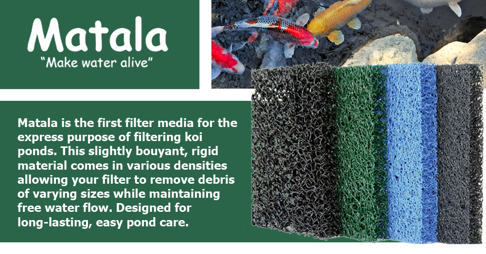 Matala is the first filter media for the express purpose of filtering koi ponds. This slightly bouyant, rigid material comes in various densities allowing your filter to remove debris of varying sizes while maintaining free water flow. Designed for long-lasting, easy pond care.